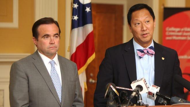 Mayor John Cranley (left) and University of Cincinnati President Santa Ono jointly addressed the UC police officer-involved fatal shooting last summer.