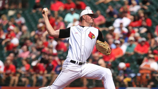 U of L's Kade McClure (19) delivers a pitch against FSU at Slugger Field during the ACC Tournament. May 26, 2017