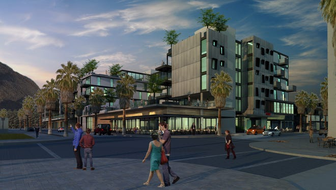 An architect's drawing of the proposed Virgin Hotel in downtown Palm Springs.