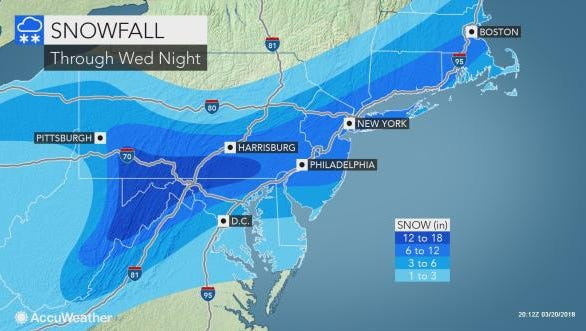 The spring nor'easter could dump more than a foot of snow on the Lower Hudson Valley.
