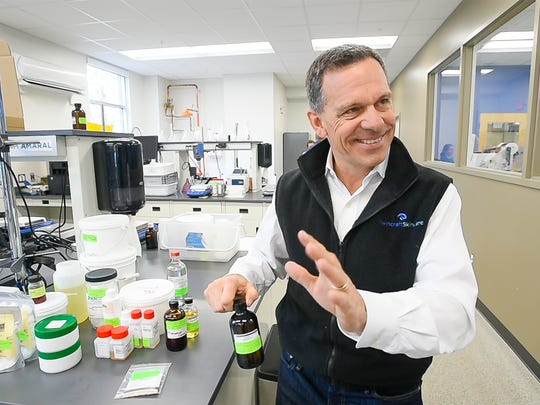 Twincraft Skincare CEO Peter Asch discusses his company's move into the liquid soap market in Winooski on Tuesday, April 4, 2017.