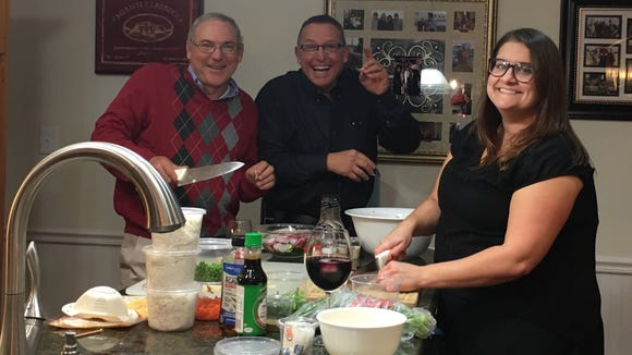 Anne Falgout cooks with her friends, The Broussards.