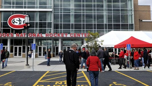 Fans gather for the grand re-opening of the Herb Brooks National Hockey Center at St. Cloud State University on Sept. 28, 2014.