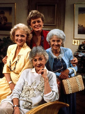 "Betty White, Beatrice Arthur, Estelle Getty and Rue McClanahan on the set of the television series ""Golden Girls."""