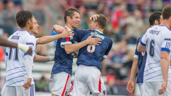 Greg Janicki celebrates a goal for the Indy Eleven.