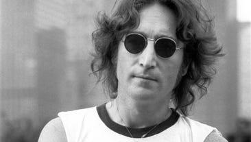 John Lennon on rooftop in New York City on August 29, 1974.