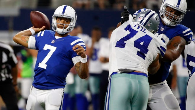 Indianapolis Colts quarterback Stephen Morris (7) throws a pass under pressure from Dallas Cowboys defensive tackle Joey Ivie (74) during the second half of a preseason NFL football game, Saturday, Aug. 19, 2017, in Arlington, Texas. (AP Photo/Michael Ainsworth)