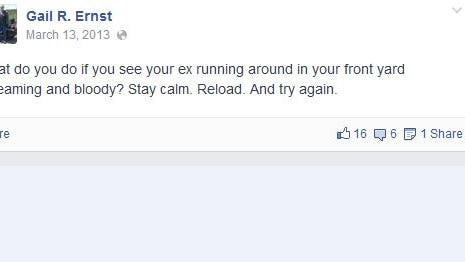 Democratic operatives shot this screen shot of Gail Ernst's Facebook page before he made his page private on Monday.