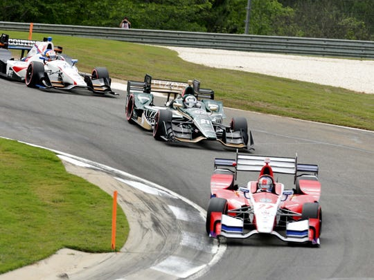 Apr 23, 2017; Birmingham, AL, USA; Indycar Series driver Marco Andretti (27) races during the Honda Indy Grand Prix of Alabama at Barber Motorsports Park. Mandatory Credit: Marvin Gentry-USA TODAY Sports