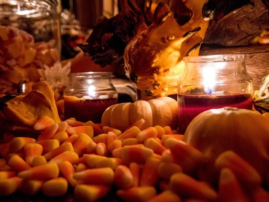 A mix of Candy Corn and Candy were a part of the table decorations at  Theatre Bizarre 2017.