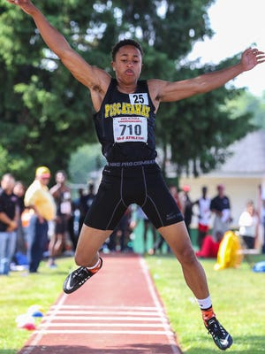 Eric Bethea of Old Bridge in the triple-jump at the NJSIAA Track Meet of Champions at Frank Jost Field in South Plainfield on June 3, 2015. (Photo by Keith A. Muccilli/ Staff Photographer)