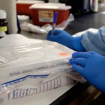 A sexual assault evidence kit is logged in a biology lab in Houston on April 2, 2015.
