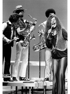 """Janis Joplin and the Kozmic Blues Band performs on the """"Dick Cavett Show"""" in 1969 in this photograph by Michael Friedman, which will be featured at the Antiques at Rhinebeck Show this weekend."""