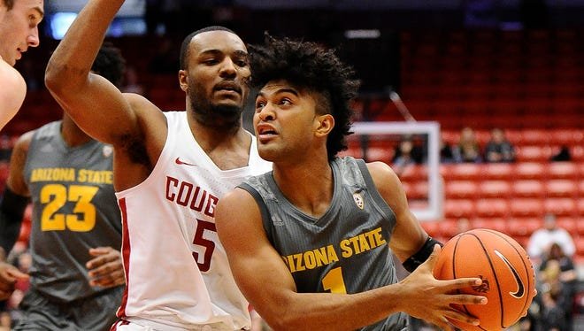 Feb 4, 2018: Arizona State Sun Devils guard Remy Martin (1) runs the lane against Washington State Cougars guard Milan Acquaah (5) during the first half at Friel Court at Beasley Coliseum.