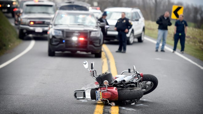 Motorcyclist Harry Accor, 38, of Jonestown, was killed in a crash at 1:37 p.m. Monday, April 11, 2016, in the area of 2100 Thompson Ave., in North Annville Township.