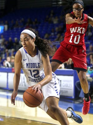 MTSU's Brea Edwards scored 29 points against rival Western Kentucky on Saturday.