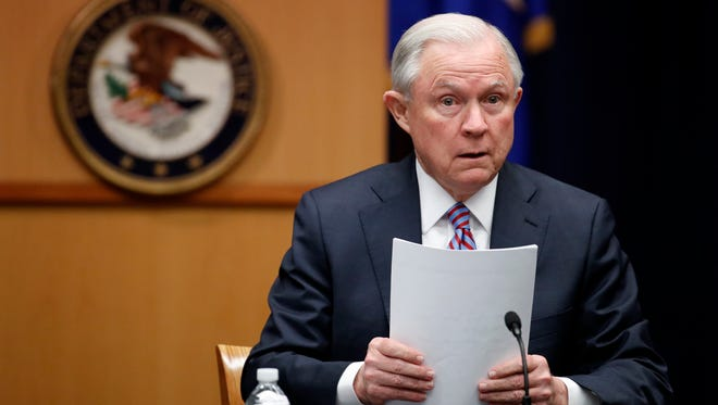 Attorney General Jeff Sessions prepares to speak before a meeting of the Attorney General's Organized Crime Council and Organized Crime Drug Enforcement Task Forces Executive Committee at the Department of Justice on April 18, 2017.