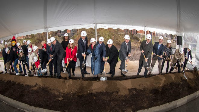 The groundbreaking of the Dr. Don Shondell Practice Center on March 31, 2017 outside Worthen Arena.