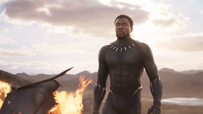 """Actor Chadwick Boseman is shown in a scene from the hit movie, """"Black Panther."""""""