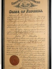 The official appointment by Florida Gov. John Martin