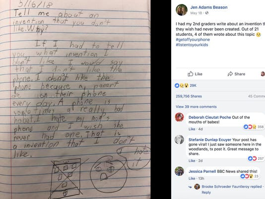 I wish my mom's phone wasn't invented, 2nd grader writes in school project