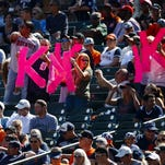Fans hold up K signs for Justin Verlander's strikeouts on Sept. 11, 2016, at Comerica Park in Detroit.