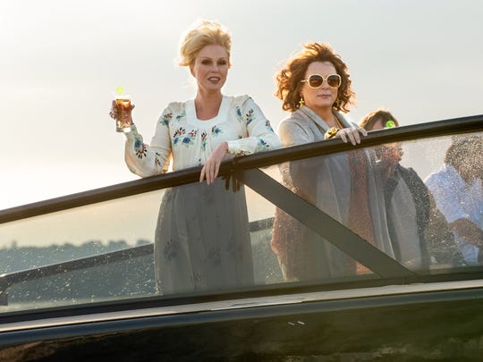 """Still fabulous after all this time: Patsy (Joanna Lumley) and Edina (Jennifer Saunders) arrive on the big screen in """"Absolutely Fabulous: The Movie."""""""