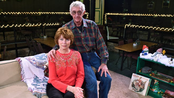Janie and John Chaffin pose for a photo on the main stage at Chaffin's Barn Dinner Theatre. The theater opened in 1967 and is celebrating its 50th season in 2016.