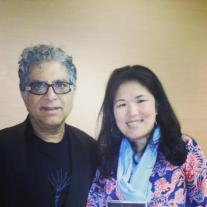 Birmingham author Kristin Meekhof with Dr. Deepak Chopra