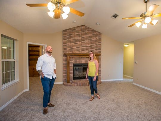 First-time homebuyers Jaime and David Gibbs do the