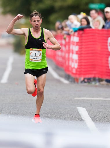 Jonathan Kotter wins the 42nd annual St. George Marathon with a time of 2:16:18.26 Saturday, October 6, 2018.