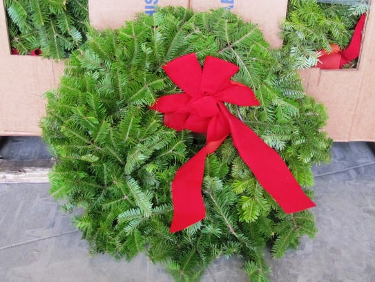 One of the balsam fir wreaths that will be put on the