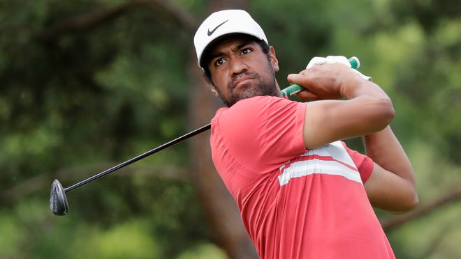 Tony Finau hits from the second tee Friday during the second round of the Memorial in Dublin, Ohio.