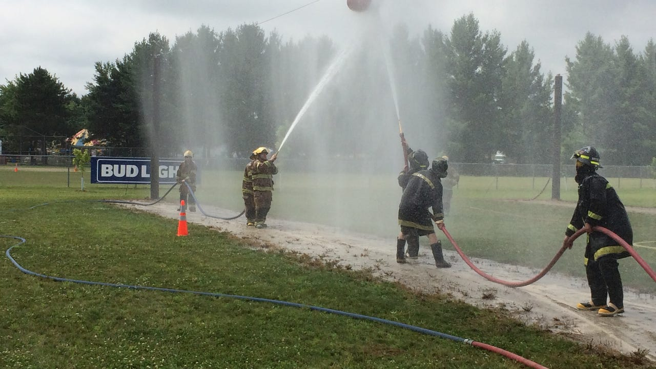 Fire departments from all over the state compete in the State Water Fight Championship in Plainfield at the Plainfield Fireman's Jamboree on Sat. July 22. It is a balance of competition and camaraderie.