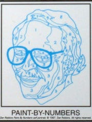 This image provided by Larry Robbins shows a numbered outline of a self portrait of Dan Robbins. Family members say Robbins, an artist who created the first paint-by-numbers pictures and helped turn the kits into an American sensation during the 1950s has died.