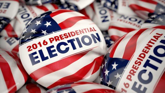 Closeup shot of a presidential election button.