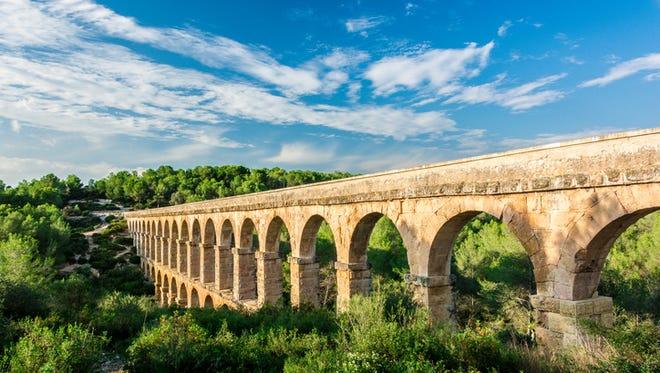 The Roman aqueduct Pont del Diable is located in Tarragona, Spain.