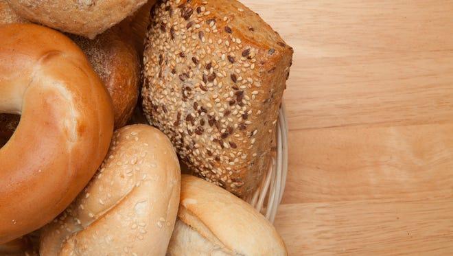 Bread, bagels in a basket