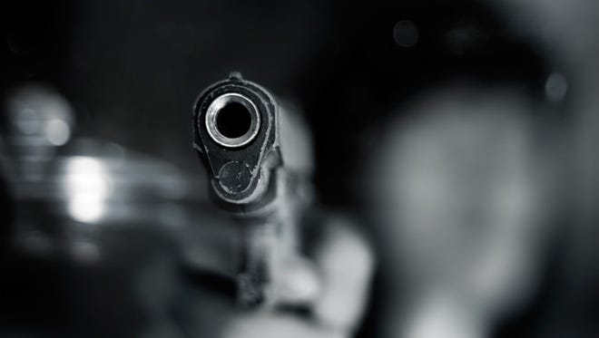Stock image, close-up of semi-automatic handgun