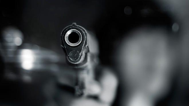 Stock image, close-up of semi-automatic handgun
