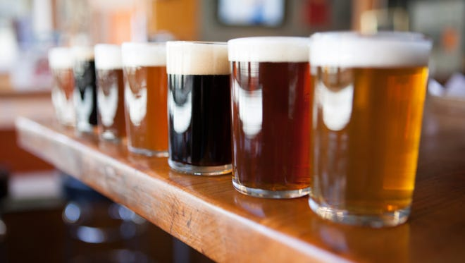 A sampling of eight beers from a pub's brews.
