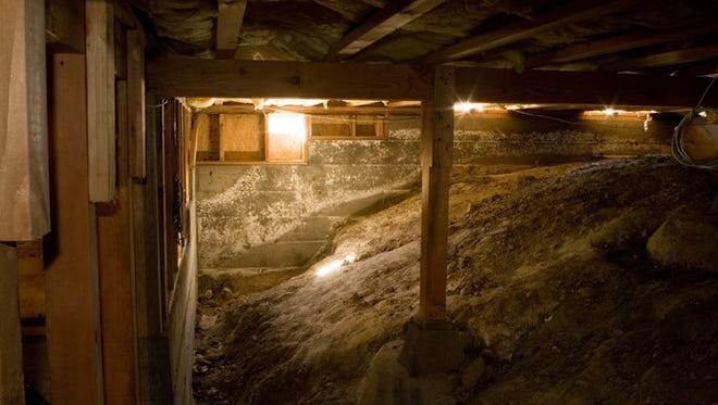 Crawl space under typical american house.