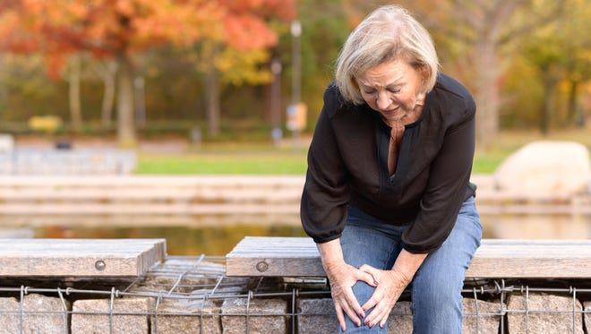 A common source of knee pain is osteoarthritis, in which the knee's natural lubricant, called synovial fluid, diminishes with age, resulting in painful friction of the knee joints.