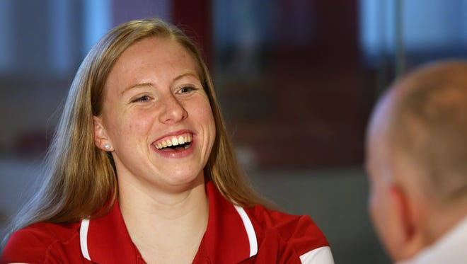 IU Olympic swimmer Lilly King smiles during an interview at the IU Swimming & Diving Olympian Media Day in the Henke Hall of Champions in Bloomington, July 11, 2016.