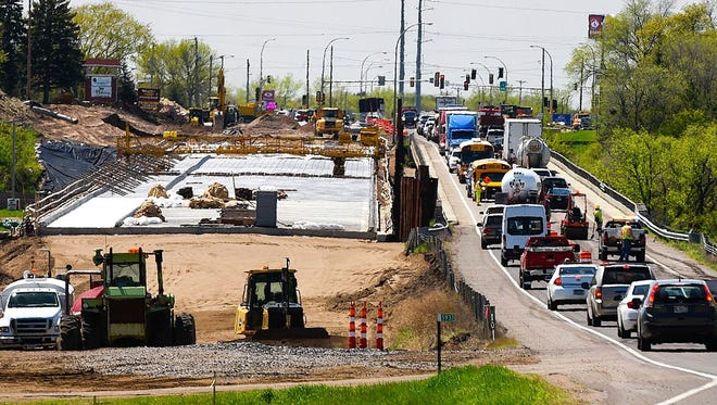 Construction jobs, including those for projects like a Minnesota Highway 24 bridge, showed growth in the year ending in April.