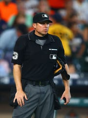 Apr 20, 2017; Houston, TX, USA; MLB umpire Tripp Gibson during the Los Angeles Angels game against the Houston Astros at Minute Maid Park.