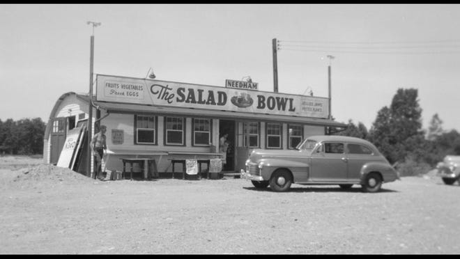 The Salad Bowl restaurant in the 1940's. The restaurant was taken down to widen the roadway to make way for a highway.