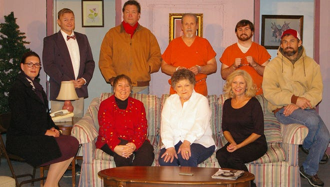 """The cast of """"All is Merry and Bright"""" pictured (standing l to r) Alex Syler, Bill Colclough, Jeff Wellington and Alex Maynard. (seated l to r) Amy Snider, Jan Dial, Linda Ellis Cunningham, Kathy Watts and Scott Swan."""
