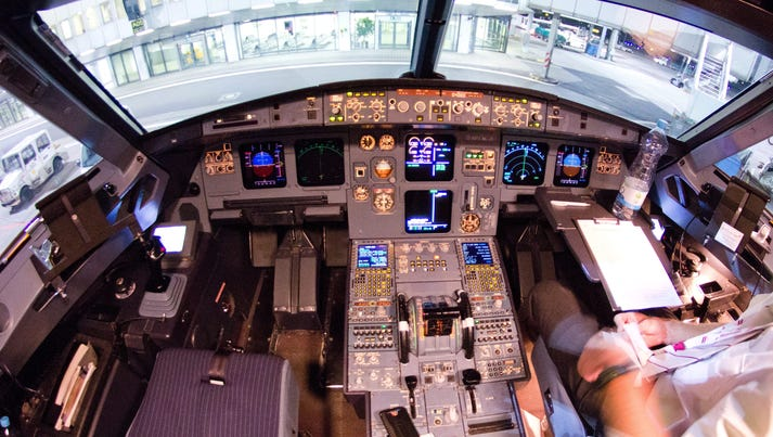 The interior cockpit of the Germanwings aircraft at