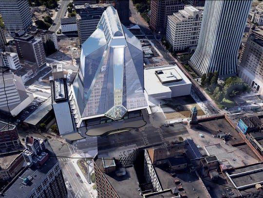 A proposed 25-story glass tower to include a performing
